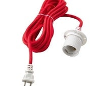Cord Set With Bulb Socket E26 15 Feet Ceiling Pendant Light Red Lamp Cord