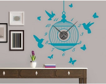 Bird Cage wall decal clock, sticker, mural, vinyl wall art