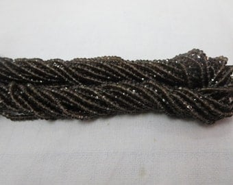 "Natural Smoky Quartz Rondelle Beads Facited 3.50 mm 14"" inches string"