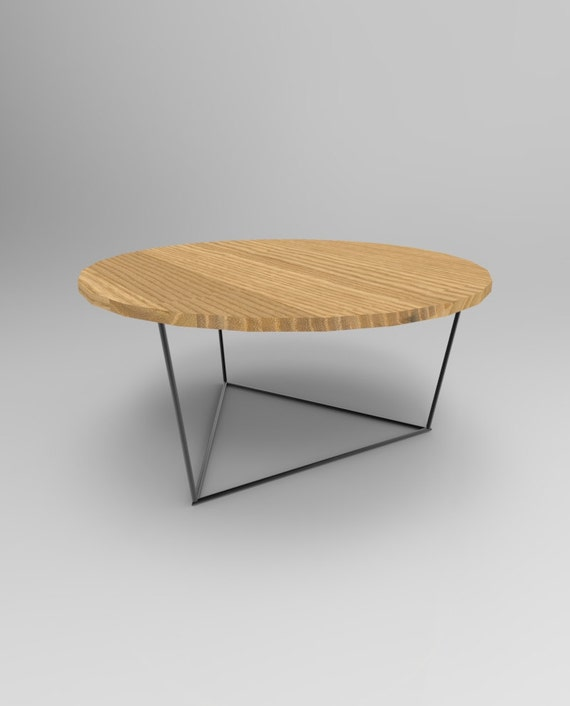 Modern Round Wooden Coffee Table 110: Modern Round Coffee Table With Solid Wood Top And By