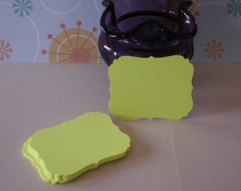 25 neon yellow 2 1/2 inch bracket cards for weddings, parties, cards, crafts, scrapbooking etc.
