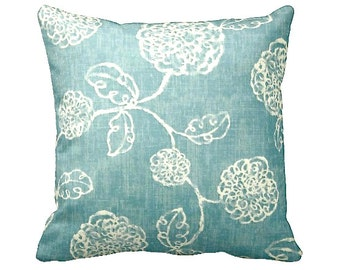 6 Sizes Available: Blue Throw Pillow Covers Decorative Pillow Cover Blue Pillow Floral Pillow 12x24 18x18 20x20 inches