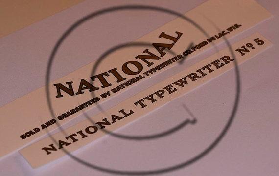 National 5 Typewriter Water Slide Decal Set