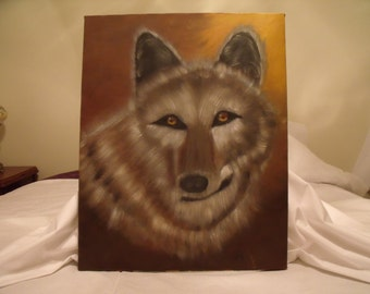 Beautiful Wolf 16 x 20 original Oil Painting