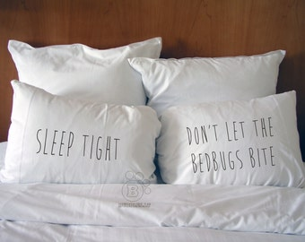 Handmade Printed Cotton Pillow Covers - Sleep Tight - Don't Let The Bedbugs Bite - Cotton Bedding - Perfect Gift