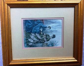 Vintage Framed Victorian Print Art