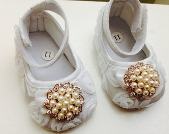 white baby satin rosette shoes, baptism and christening baby shoes, white crib shoes, ballerina shoes, white crib shoes