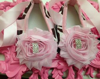 Pink baby shoes--Giraffe print crib shoes--newborn shoes