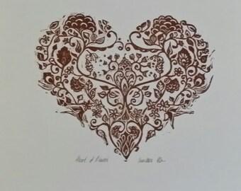 Hand printed original linocut.  ' Heart of flower's'