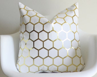 Gold Honeycomb 20x20 Throw Pillow Cover