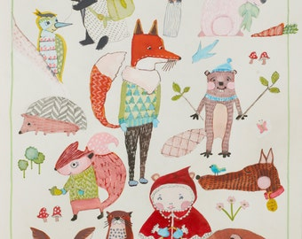 Red Riding Hood & Woodland Animal Friends Quirky Nursery Child's Illustration Giclee Print - Fairy Tale Illustration -Kids Art Print -Forest