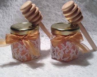 50 Qty Mini Honey Jars Favors with Honey Dipper 1.5oz for Weddings,Bridal Showers,Birthday Party