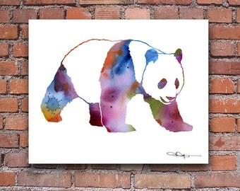Panda Bear Art Print - Abstract Watercolor Painting - Wall Decor