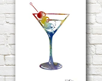 Martini Art Print - Abstract Watercolor Painting - Wall Decor