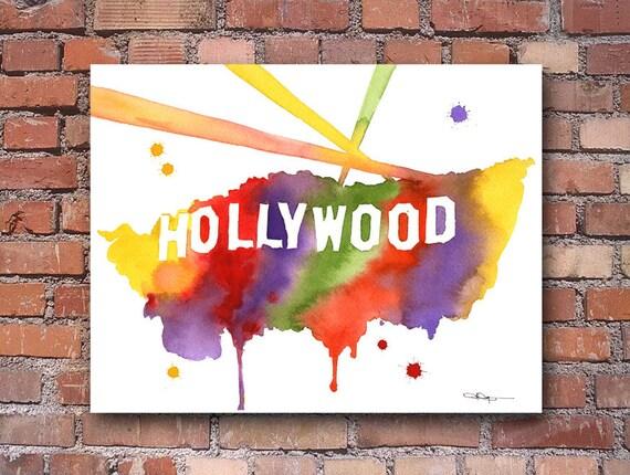 Hollywood Sign Abstract Watercolor California Art Print