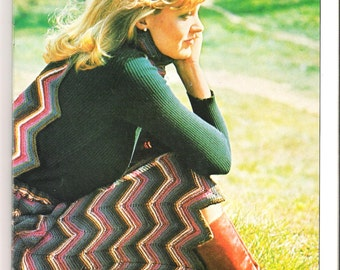 Vintage knitting pattern , chevron skirt and scarf