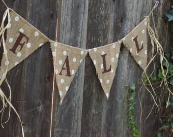 Polka Dot Fall Burlap Banner-Farmhouse Fall Burlap Banner-Shabby Chic Fall Burlap Banner-Thanksgiving Banner-Fall Banner-Halloween Banner