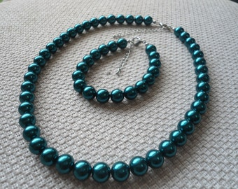 Teal Pearl Sets,Pearl Necklace,pearl bracelet,Glass Pearl ,Wedding Necklace,Bridesmaid Necklace,Wedding Jewelry,Jewelry
