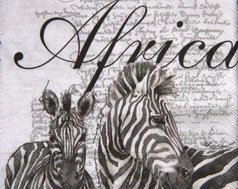 """African paper napkin serviette No 4, Zebra. Ideal for decoupage, collage, scrapbooking and paper crafts. Size:13"""" x 13"""" (33cm x 33cm)"""