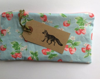 Handmade pencil case in Cath Kidston mini strawberries fabric. Back to school pouch, bag, purse.