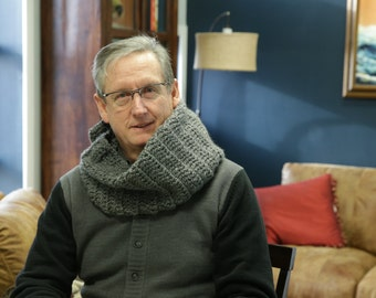 Handmade Grey Crochet Scarf