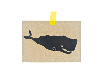 Whale, sperm whale, card, Karte, map Pottwal
