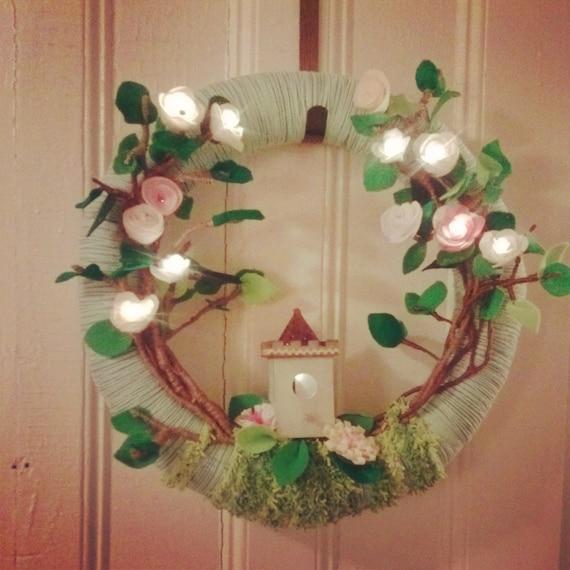 Wreath Handmade Spring Illuminated Garden Wreath with Enchanted LED Lights, Custom Order