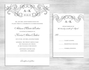 DIY Printable Wedding Invitation and Response Card: Elegant Swirls