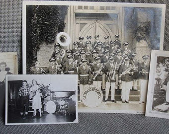 Large high school band photo, 3 vintage photos of musicians