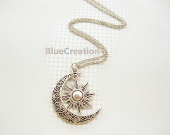Moon And Sun Necklace Moon Necklace Sun Jewelry Pendant Necklace BFF Graduation Gift