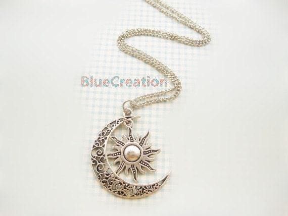 Lune et soleil collier lune collier soleil Bijoux pendentif collier cadeau de Graduation de BFF