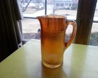 LAST CHANCEC SALE!! Antique Tree Bark Carnival Glass Marigold Pitcher