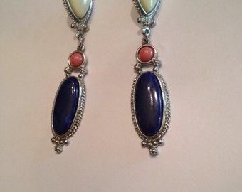 Vintage Silver Enamel Dangle Earrings Blue Cream Costume Jewelry