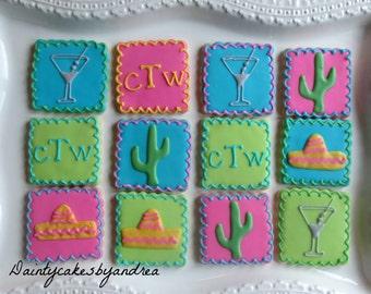 12 monogrammed fiesta cookies!