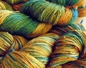Hand dyed yarn, hand painted yarn, 2 ply alpaca and merino, hand dyed sock yarn, color Navajo Corn 100g/438 yds