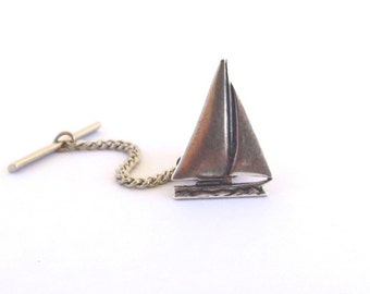 Small Sailboat Tie Tack in Sterling Silver Ox Finish- Gifts For Men
