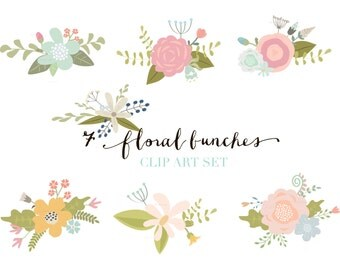 Flower Clip Art - Hand drawn Flower Blooms ClipArt, floral bunches, floral elements - Digital Flower Graphics.
