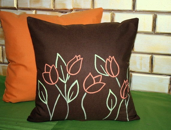 Tulip Patterned-Fabric Painting and Handmade-Decorative Pillow