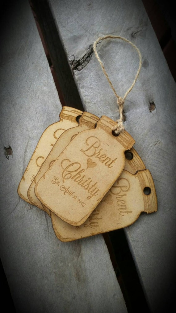 Hanging Wedding Gift Tags : Wedding tags wedding favor hang tags laser engraved personalized mason ...