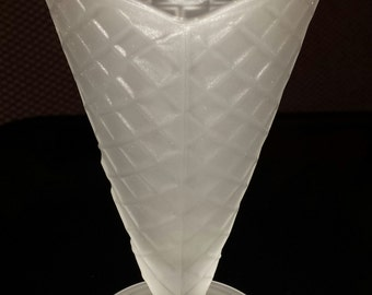 50's Diner Style Waffle Cone Frosted Ice Cream Glass