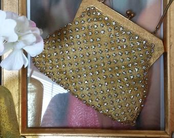 Glamorous Gold Mesh and Rhinestone 1950's/1960's purse