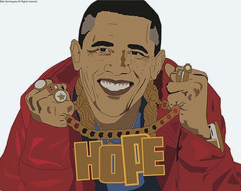 Obama the Rapper. Geek Graphic design Poster Print designed by Cult.Graphics