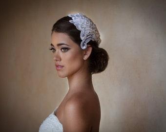 Vintage Bridal Hair Accessories / Vintage Bridal Hair Piece /Lace and Rhinestone Bridal Hair Piece   / Tocado de Novia Vintage