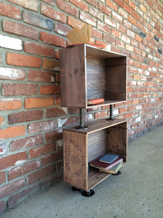 Wine crate side table nightstand book shelf stained wood for Wine crate furniture