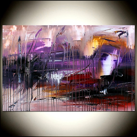Purple paintings canvas