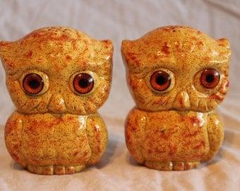 Vintage set of ceramic owl salt & pepper shakers