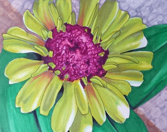 Original Green and Pink Zinnia Flower Drawing in Marker 8x8