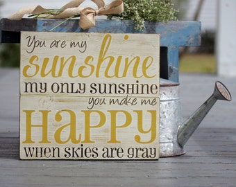 "You are my sunshine wall art, hand painted wood sign, great for baby room or home decor, measures 11"" x 12"""