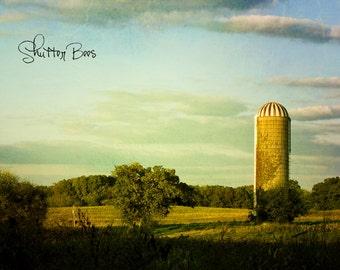 Silo, vintage farm photo, farm photo, pasture, country