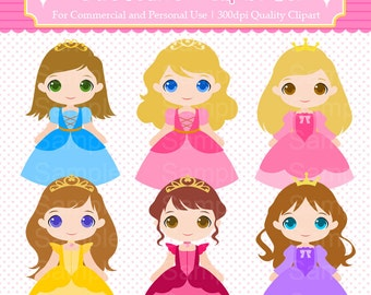 Cute Princess Clipart Set - For Commercial and Personal Use Cliparts